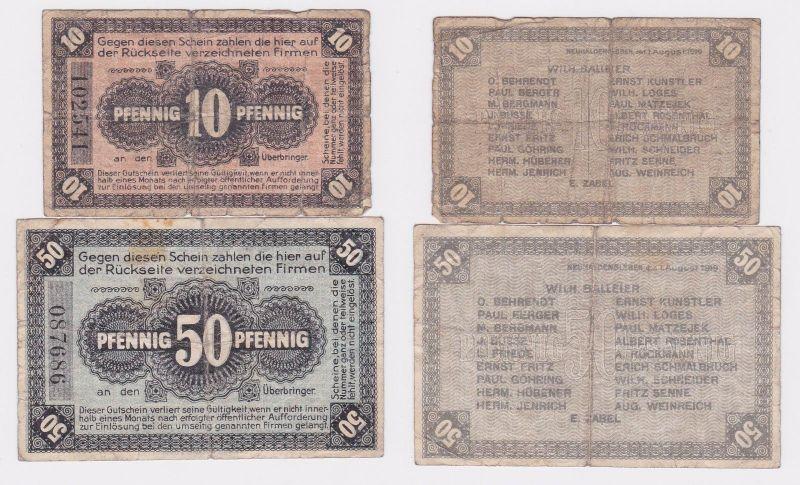 10 und 50 Pfennig Banknoten Notgeld Neuhaldensleben 1919 (120761)