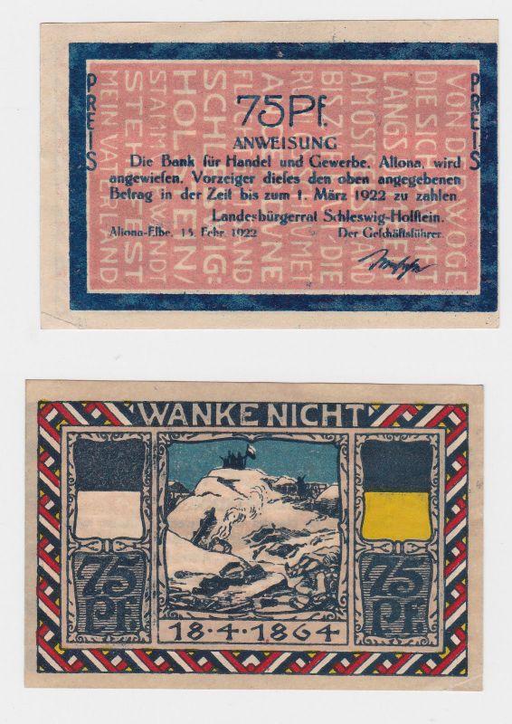 0,75 Pfennig Banknote Landesbürgerrat Altona Elbe 15.Februar 1922 (126226)