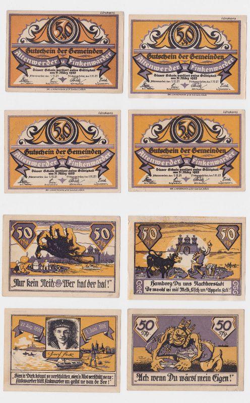 6 Banknoten 50 Pfennig Notgeld Gemeinde Altenwerder & Finkenärder 1921 (126235)