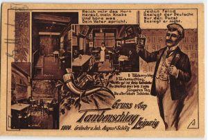 92259 AK Gruss vom Taubenschlag Leipzig, Gründer & Inhaber August Schölz 1880