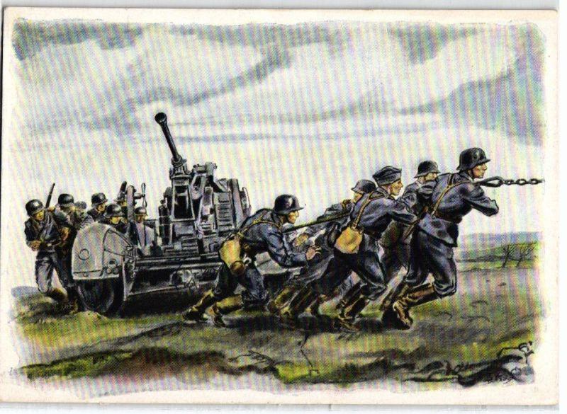 92255 Militär AK Flakgeschütz wird in Stellung gebracht
