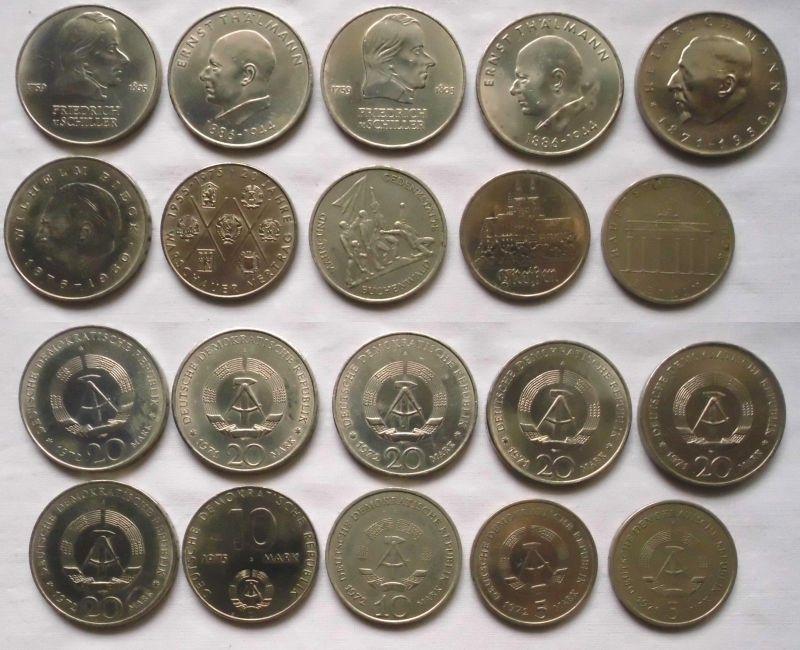 10 DDR Gedenkmünzen 5, 10 und 20 Mark Pieck, Schiller  usw. (123414)