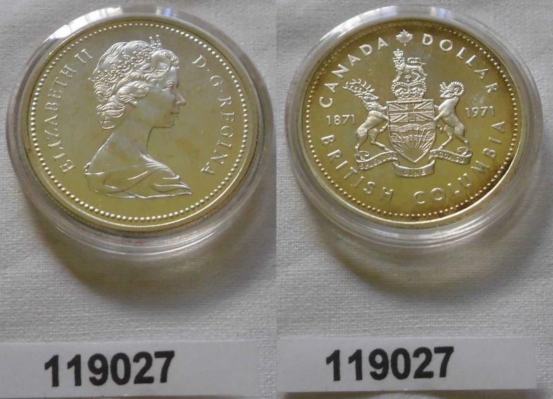 1 Dollar Silber Münze Kanada Wappen British Columbia 1971 (119027)