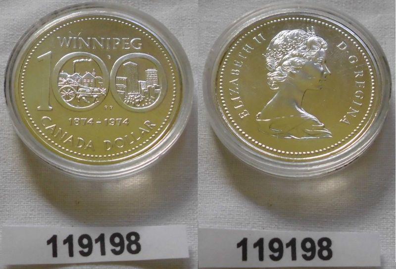 1 Dollar Silber Münze Kanada 100 Jahre Winnepeg 1974 (119198)
