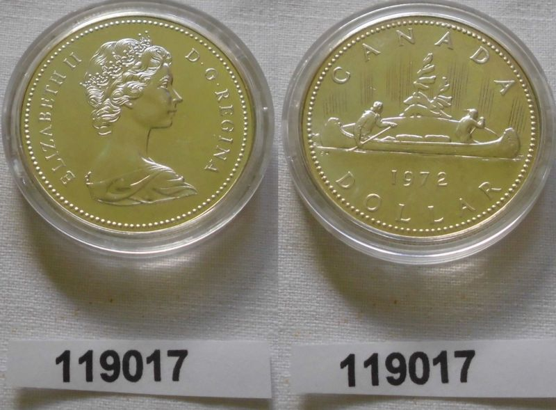 1 Dollar Silbermünze Kanada Indianer im Kanu 1965 (119017)