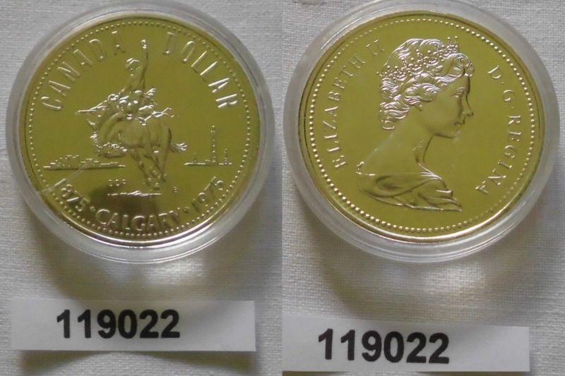 1 Dollar Silber Münze Canada Kanada 100 Jahre Stadt Calgary 1975 (119022)