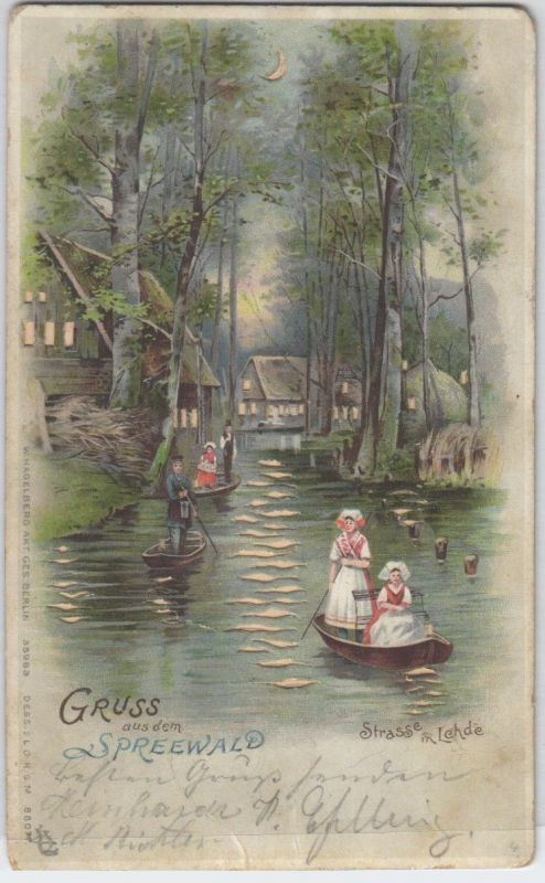 92161 Halt gegens Licht Ak Gruß aus dem Spreewald Straße in Lehde 1899