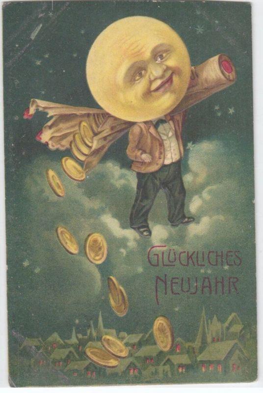 92491 Neujahrs Präge Ak Mann im Mond verliert Münzen 1911