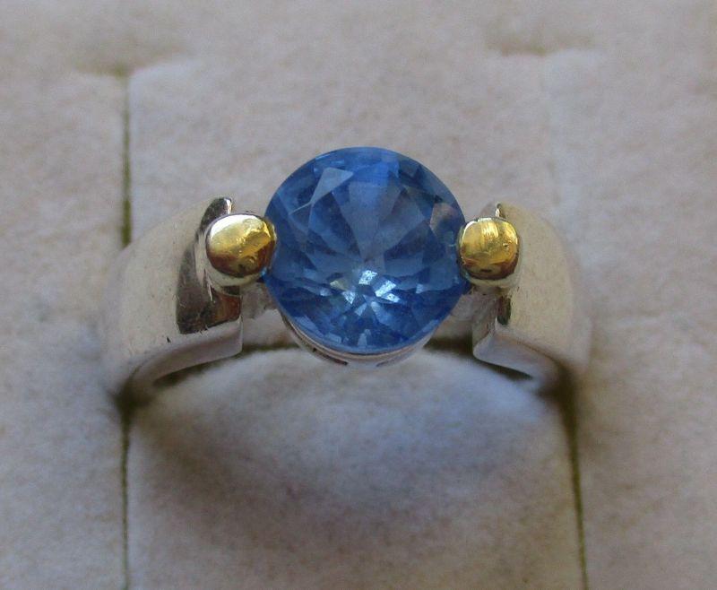 Eleganter teilvergoldeter 925er Sterling Silber Ring mit blauem Stein (126603)