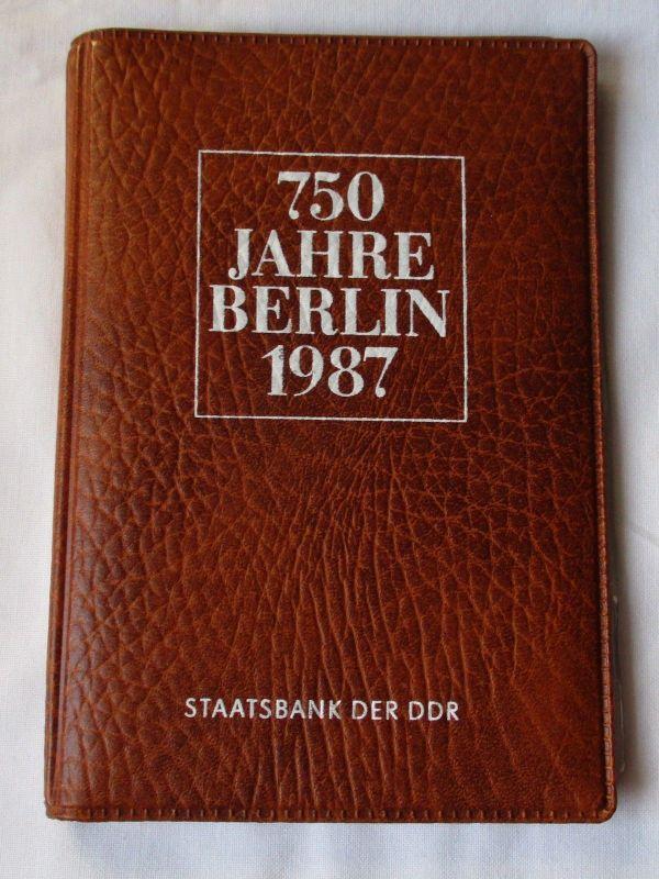 DDR 750 Jahre Berlin,Offizieller Folder m. 4 Münzen & Token,Staatsbank (126281)