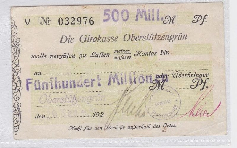 500 Millionen Mark Banknote Girokasse Oberstützengrün 29.9.1923 (118810)