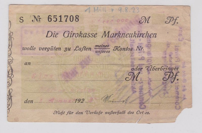 1 Million Mark Banknote Girokasse Markneukirchen 9.8.1923 (126582)
