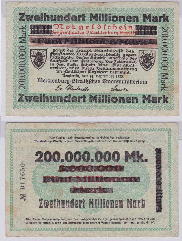 200 Millionen Mark Banknote Freistaat Mecklenburg Schwerin 14.9.1923 (126592)