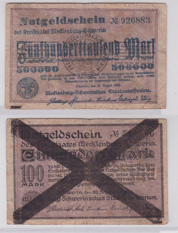 500000 Mark Banknote Freistaat Mecklenburg Schwerin 10.8.1923 (126456)