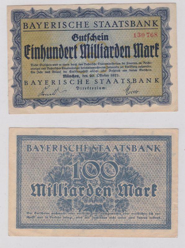 100 Millionen Mark Banknote München Bayerische Staatsbank 20.10.1923 (126587)