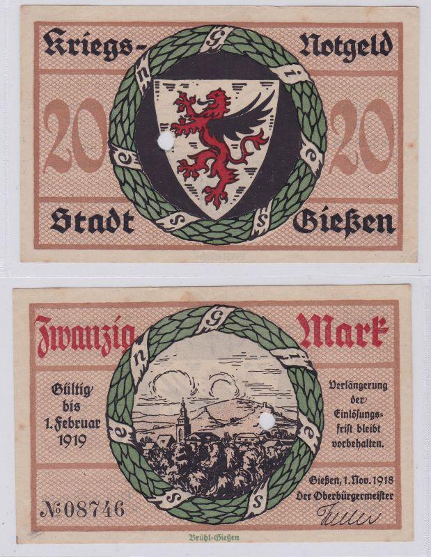 20 Mark Banknote Amtskörperschaft Stadt Giessen 1.11.1918 (126293)