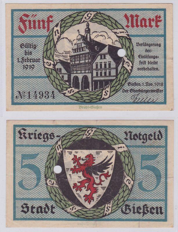 5 Mark Banknote Amtskörperschaft Stadt Giessen 1.11.1918 (126141)