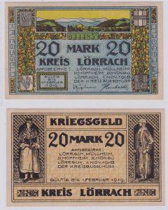20 Mark Banknote Notgeld Kreis Lörrach 1.11.1918 (126363)
