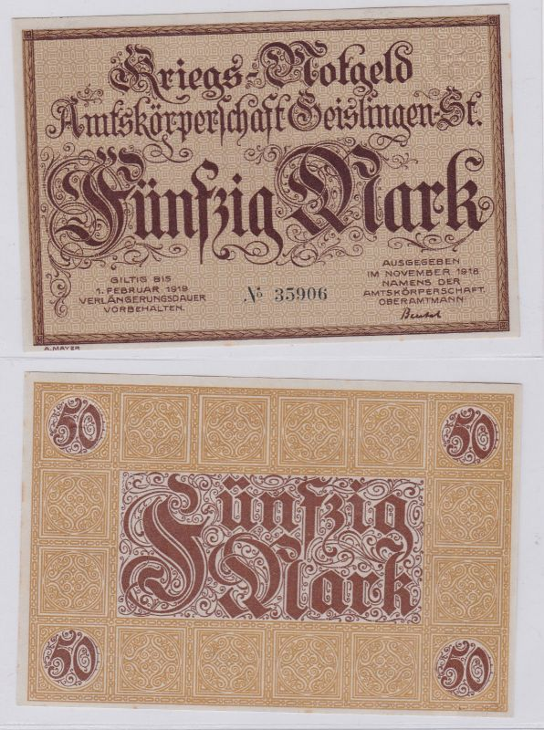 50 Mark Banknote Amtskörperschaft Geislingen November 1918 (126628)