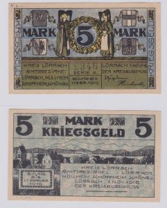 5 Mark Banknote Notgeld Kreis Lörrach 1.11.1918 (126571)
