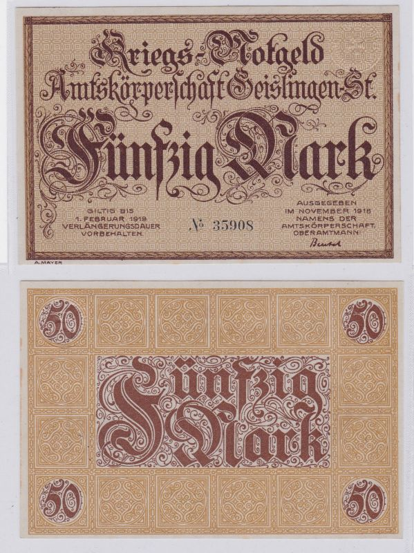 50 Mark Banknote Amtskörperschaft Geislingen November 1918 (126625)