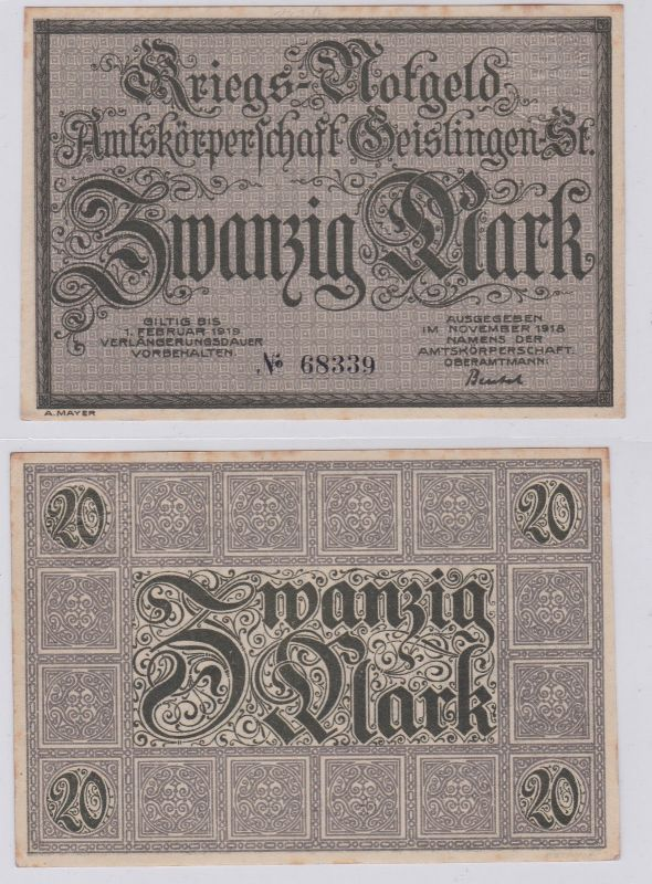 20 Mark Banknote Amtskörperschaft Geislingen November 1918 (126623)