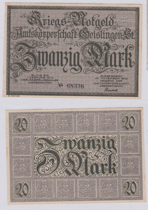 20 Mark Banknote Amtskörperschaft Geislingen November 1918 (126290)