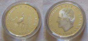 2000 Pesetas Silbermünze Spanien Seidenreiher 1994 (126380)