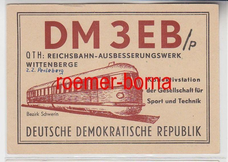 72777 QSL Karte Funker Funkamateur Reichsbahn-Ausbesserungswerk Wittenberge 1960