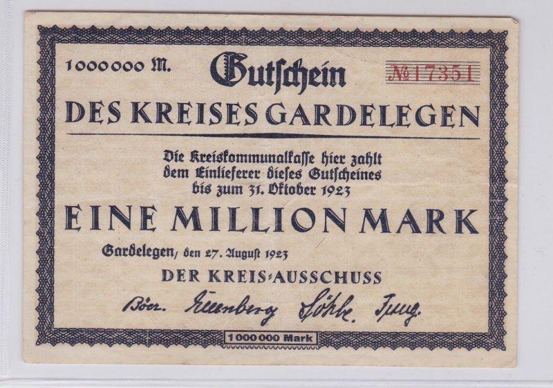 1 Million Mark Banknote Inflation Kreis Gardelegen 27.8.1923 (125952)
