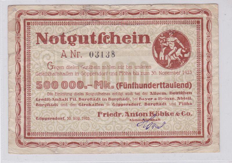 500000 Mark Banknote Inflation Göppersdorf Firma Köbke 30.8.1923 (125930)