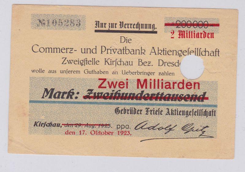 2 Milliarden Mark Banknote Löbauer Bank Zweigstelle Kirschau 17.10.1923 (126585)