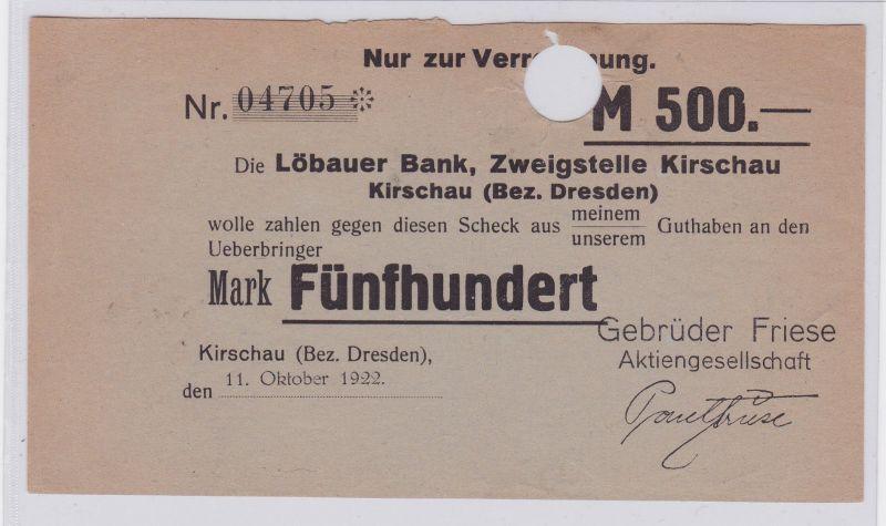 500 Mark Banknote Löbauer Bank Zweigstelle Kirschau 11.10.1922 (126584)