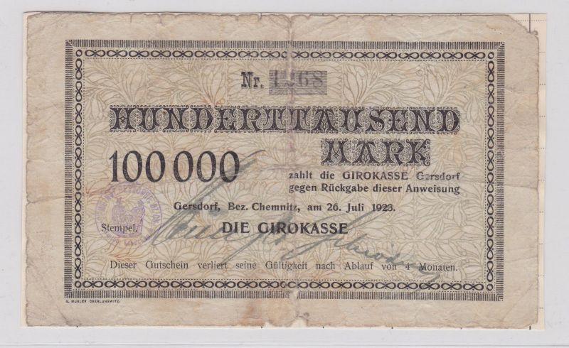 100000 Mark Banknote Inflation Gersdorf Bezirk Chemnitz 26.7.1923 (125949)