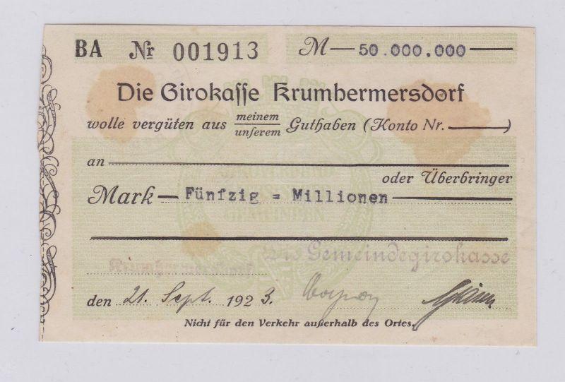 50 Millionen Mark Banknote Girokasse Krumhermersdorf 21.9.1923 (126525)