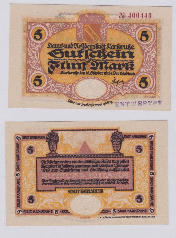 5 Mark Banknote Notgeld Stadt Karlsruhe 16.10.1918 (126565)