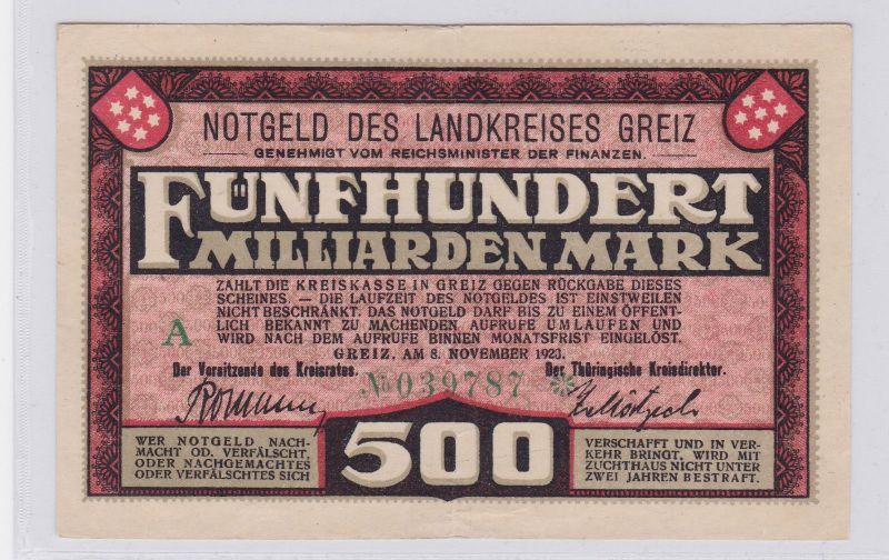 500 Milliarden Mark Banknote Inflation Landkreis Greiz 8.11.1923 (125925)