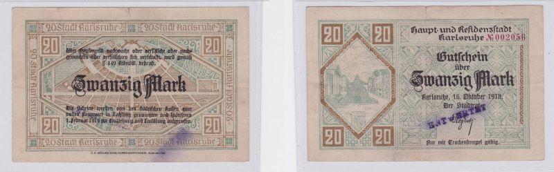 20 Mark Banknote Notgeld Stadt Karlsruhe 16.10.1918 (126298)