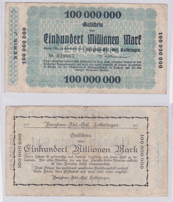 100 Millionen Mark Banknote Gerthe i.W. Bergbau AG Lothringen 22.9.1923 (126638)