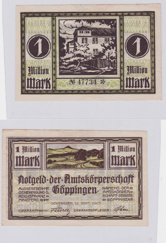 1 Million Mark Banknote Amtskörperschaft Göppingen 12.09.1923 (126162)