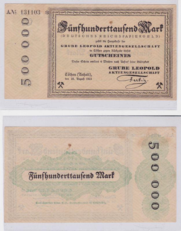 500000 Mark Banknote Inflation Cöthen Anhalt Grube Leopold AG 1923 (126579)