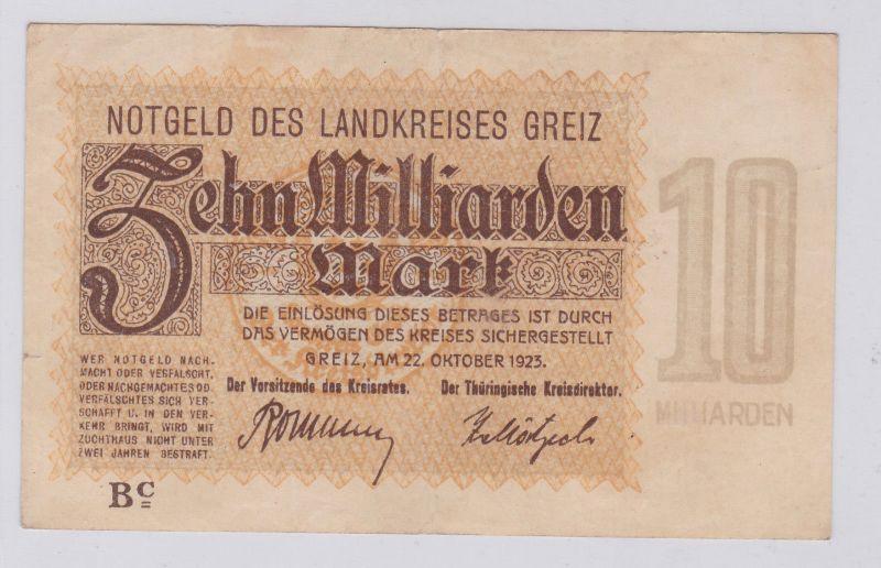 10 Milliarden Mark Banknote Inflation Landkreis Greiz 22.10.1923 (126287)
