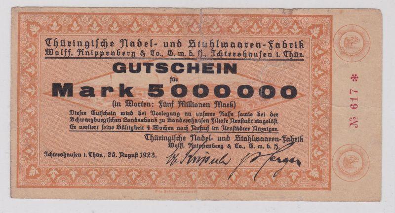 5 Millionen Mark Banknote Ichtershausen in Thüringen 25.08.1923 (126473)