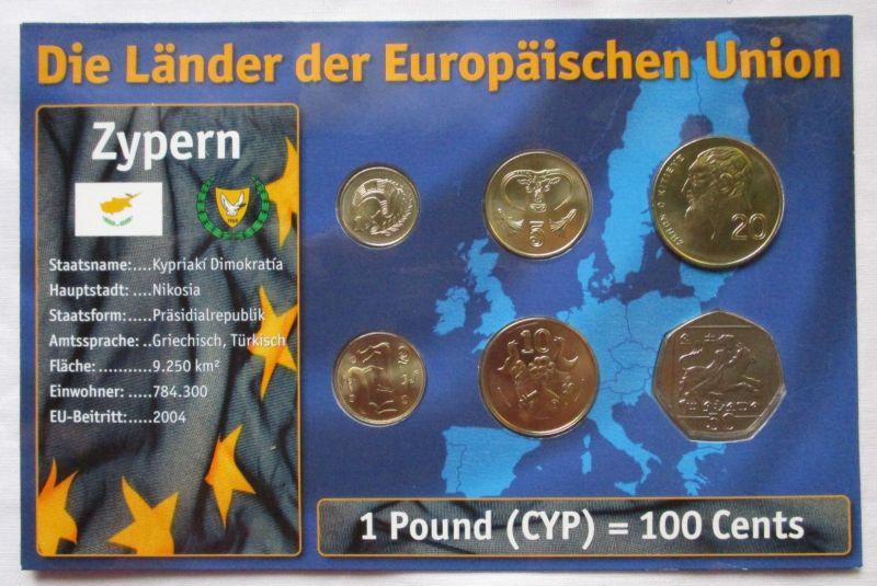 Kursmünzsatz Zypern 6 Münzen 1 50 Cent 2004 Zertifikat 126174