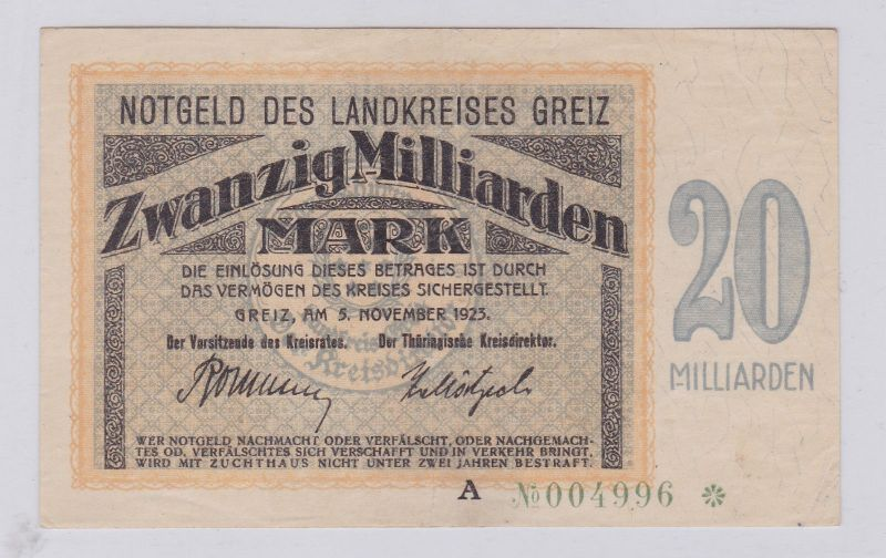 20 Milliarden Mark Banknote Inflation Landkreis Greiz 5.11.1923 (125924)