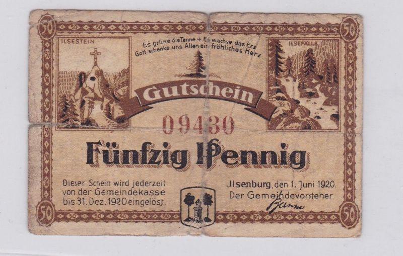 50 Pfennig Banknote Notgeld Gemeinde Ilsenburg 1.6.1920 (126480)
