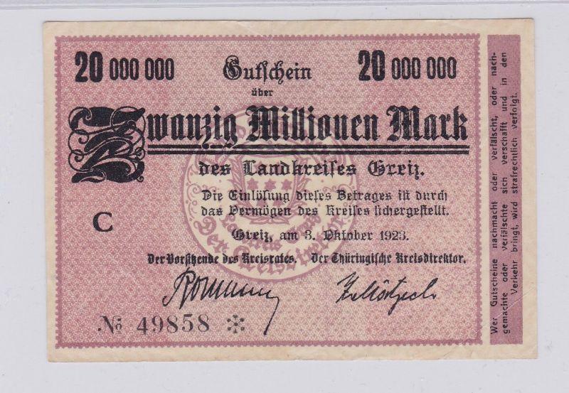 20 Millionen Mark Banknote Inflation Landkreis Greiz 3.10.1923 (126300)