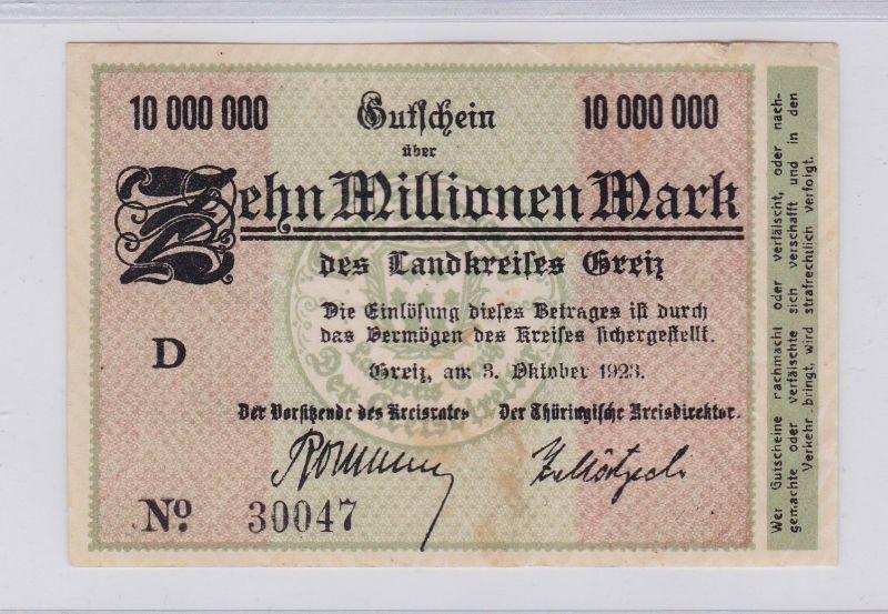 10 Millionen Mark Banknote Inflation Landkreis Greiz 3.10.1923 (125927)