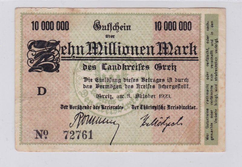 10 Millionen Mark Banknote Inflation Landkreis Greiz 3.10.1923 (126210)