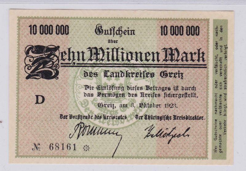 10 Millionen Mark Banknote Inflation Landkreis Greiz 3.10.1923 (125935)
